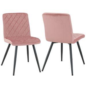 Duhome 2er Set Esszimmerstuhl Polsterstuhl aus Stoff Samt Rosa Pink gesteppt Metallbeine