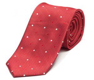 Schlips Krawatte Krawatten Binder 8cm rot weiß gepunktet Fabio Farini