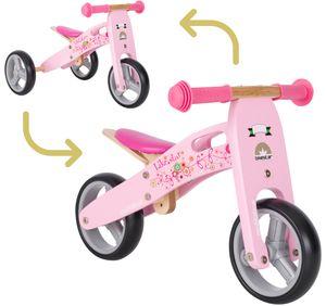 BIKESTAR Mini Kinder Laufrad mit zwei und drei Rädern ab 1 – 1,5 Jahre | 2 in 1 Lauflernrad Holz | Pink