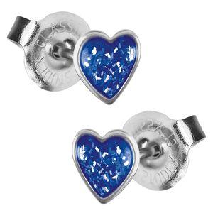 1 Paar Studex Erstohrstecker 316L Chirurgenstahl Glitterline mit Herz in blau Studex System 75 Ohrschmuck Ohrringe Ohrhänger