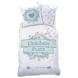 LIEBLINGSPLATZ Bettwäsche Set 80x80 + 135x200 cm in weiß, mint, türkis · Blumen & Herzen - 100% Baumwolle
