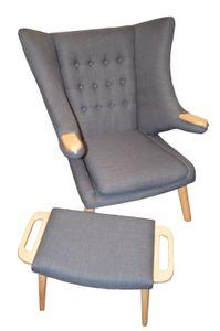 Design Sessel mit Armlehnen aus Webstoff in grau | Club-Sessel im Retro-Design | Gestell aus Esche-Holz | Moderner Wohnzimmer-Sessel  | Relax-Sessel | mit Hocker | Ohrensessel