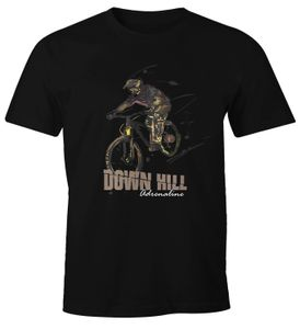 Herren T-Shirt Downhill Mountainbiking MTB Radsport Extremsport Fun-Shirt Spruch lustig Moonworks® schwarz XL