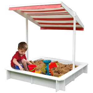 Sandkasten mit Sonndendach Sandkiste Sandbox Holz Spielhaus Holzsandkasten Weiß