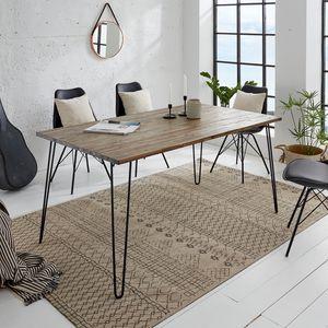 Massiver Retro Esstisch SCORPION 160cm Akazie braun verwittert Hairpin Legs Massivholz Tisch Holztisch