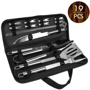 19 teiliges BBQ Grill Set aus Edelstahl Zange Zubehör Grillbesteck Steak Messer Gabel inkl. Tasche zur Aufbewahrung