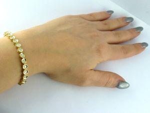 Goldarmband Gelb Gold 750 - Tennisarmband Diamant Brillant Weiß 3,00ct W/P 18,5cm 18