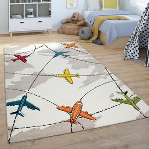 Kinder-Teppich, Spiel-Teppich, Kurzflor Für Kinderzimmer, Flugzeuge, In Beige, Grösse:120x170 cm