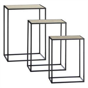3er Set Beistelltisch rechteckig Eisen schwarz / MDF Holzplatte dunkel
