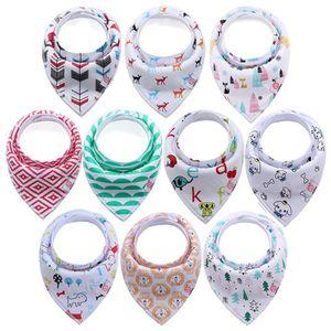 10er Set Baby Dreieckstuch Lätzchen Halstücher Saugfähig Weich Baumwolle mit Druckknöpfen für Jungen und Mädchen von 0 bis 36 Monaten