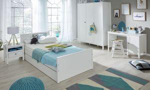 Kinderzimmer Jugendzimmer komplett Set Ole 5-teilig Landhaus weiß mit Bett Schrank Schreibtisch Nachttisch Bettschubkasten Gästebett