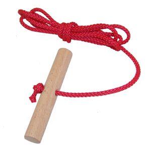 Schlittenseil mit Holzgriff aus Buchenholz ROT