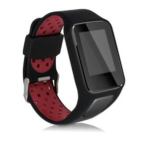 kwmobile Armband kompatibel mit TomTom Adventurer/Runner 3/Spark 3/Golfer 2 - Ersatzarmband Fitnesstracker - Fitness Band Silikon Schwarz Rot