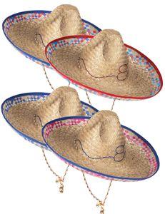 Sombrero Stroh-Hut Mexiko-Strohhut mit Stickerei beige-pink-blau