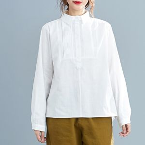 Frauen Vintage Baumwolle Leinen Shirt Plissee Turn-Down Kragen Button Down Henley Shirt Loose Casual Grosse Bluse