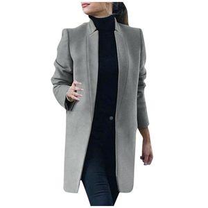 Womens Artificial Wool Coat Trench Jacket Damen Warme lange Mantel Outwear Größe:L,Farbe:Grau