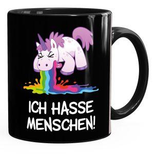 Kaffee-Tasse mit Spruch Ich hasse Menschen kotzendes Einhorn Bürotasse lustige Kaffeebecher MoonWorks® schwarz Keramik-Tasse