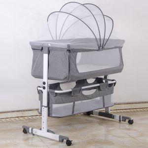 WYCTIN Babywiege Stubenwagen Beistellbett klappbar höhenverstellbar mit Rollen Moskitonetz 92*58*70-87cm