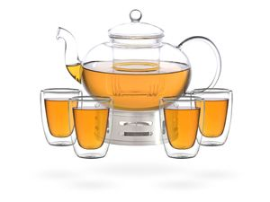 Melina Teeset / Teeservice / Teekanne Glas 1,8 liter mit Sieb, Stövchen aus Edelstahl und 4 doppelwandige Teegläser je 200ml