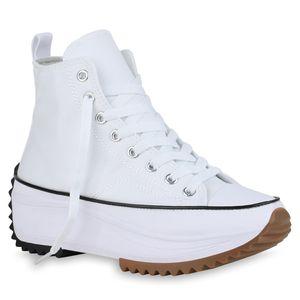 Giralin Damen Plateau Sneaker Blockabsatz Schnürer Profil-Sohle Schuhe 836555, Farbe: Weiß, Größe: 39