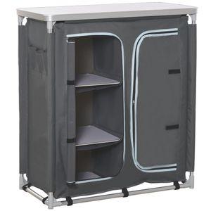 Outsunny Campingschrank faltbar Küchenbox tragbar mit Arbeitsplatte Tragetasche 3 Ablagen 1 Schrank 600D Oxford Stoff Grau 96 x 49,5 x 104 cm