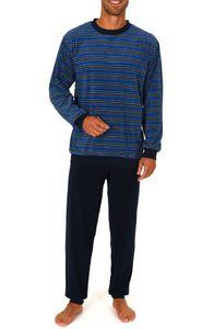 Herren Frottee Schlafanzug Pyjama lang mit Bündchen, Rundhals 58343, Farbe:marine, Größe:48/50