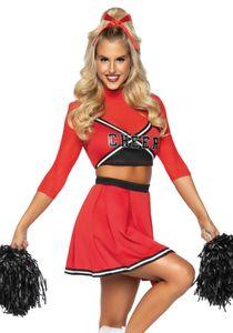 Hochwertiges Cheerleader-Damenkostüm rot-schwarz-weiss