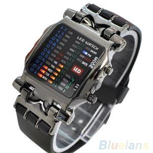 Unisex Binary LED Digital Datum Square Dial Casual Sport Kunststoffband Armbanduhr