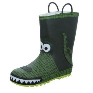 Sneakers Kinder-Gummistiefel gefüttert Krokodil Grün, Farbe:grün, EU Größe:25