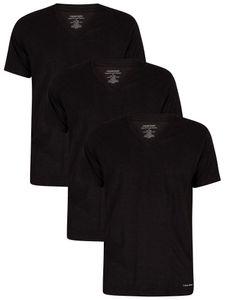 Calvin Klein Herren Lounge 3er Pack T-Shirts mit V-Ausschnitt, Schwarz L