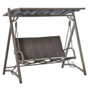 Outsunny 3-Sitzer Hollywoodschaukel Gartenschaukel mit verstellbares Sonnendach Schaukelbank Aluminium Braun 197 x 122 x 178 cm