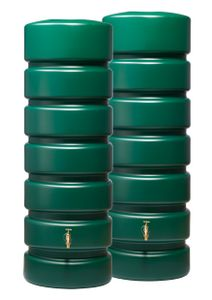 Garantia CLASSICO Gartentank-Set Regentonne Regenspeicher 1300 L (2x650 L), 165x60x192 cm (LxBxH), grün; 326035