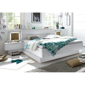 Bettanlage Doppelbett Ehebett Schlafzimmer inkl. Nachtkommoden 180 x 200 cm CAPRI Weiß Hochglanz
