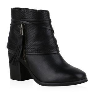 Mytrendshoe Damen Klassische Stiefeletten Zipper Fransen Prints Schuhe 836018, Farbe: Schwarz, Größe: 40