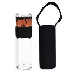 Navaris Teeflasche aus Glas mit Edelstahl Sieb - 240ml Tee Flasche Teekanne to go - Teebecher Trinkflasche Teebereiter aus Borosilikatglas mit Hülle
