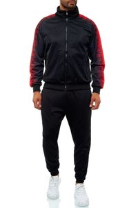 Herren Basic Trainingsanzug Streetwear Jogginganzug Sportanzug Fitness, Farben:Schwarz, Größe Hosen:M