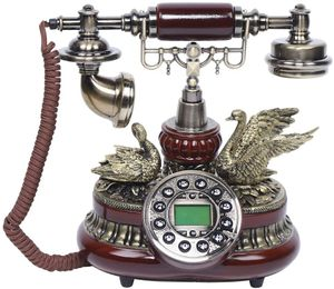 Antikes Festnetztelefon Telefon Schnurgebundene Vintage Telefon FSK/DTMF Mit Schwanendekoration für Büro-Home-Hotel