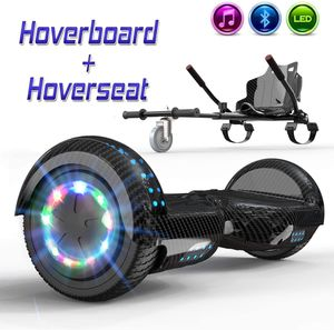Markboard 6,5 Zoll Hoverboard mit Bluetooth, LED-Leuchten,350W *2 Motorbeleuchtung + Hoverkart ,Self Balance Elektroscooter ,Elektroroller mit Hoversitz, Balance Board + Go-Kart carbon schwarz+ carbon schwarz