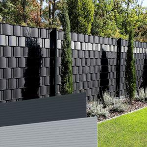 40 x Streifen | Farbe = Anthrazitgrau | HART-PVC Sichtschutzstreifen | Zaunsichtschutz Sichtschutz für Doppelstabmatten Zaun | keine Folie