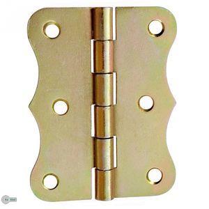 8 Gerollte Scharniere halbbreit Retro 80 x 61 mm Gelb Verzinkt