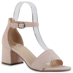 Giralin Damen Klassische Sandaletten Blockabsatz Schuhe 837601, Farbe: Nude Velours, Größe: 38