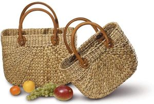 Neustanlo® Einkaufstasche/Einkaufskorb 1 STK, aus Wasserhyazinthe Groß, kurzer Henkel 43x18x30/45cm