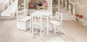 Original IMPAG® Kinder-Sitzgruppe | Großes Kinderzimmer Set 1 Tisch, 2 Stühle, 1 Truhenbank mit Qualitäts-Beschlag | Nordische Fichte | Ergonomisch | Top Möbel-Qualität |Emma