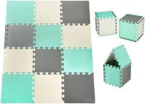 Krabbelmatte Puzzelmatte mit Rand Spielmatte für Babys und Kleinkinder 120 x 90 x 1.2 cm + Wasserdicht  - 12 Teile Minze Grün