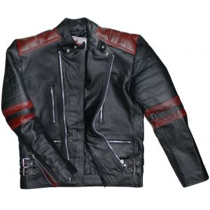 Leder Motorradjacke Oldschool Retro, Schwarz/Rot, Größe:54/XL