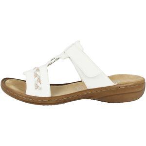 Rieker 60888 Damen Pantoletten Clogs Klettverschluss, Größe:37 EU, Farbe:Weiß
