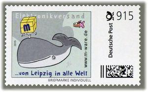 2 Cartoon-Briefmarken 'Wal' á 915ct. Porto, 2015, M-ware® ID15582