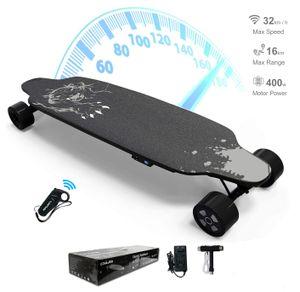 Elektro Longboard 4 Räder mit Fernbedienung,elktro skateboard,E-Board 400W Motor ,max zu 120kg Leopart schwarz LG-Akku ,E Skateboard 90* 23 cm