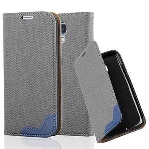 Cadorabo Hülle für Samsung Galaxy S4 - Hülle in GRAU BLAU - Handyhülle in Bast-Optik mit Kartenfach und Standfunktion - Case Cover Schutzhülle Etui Tasche Book Klapp Style