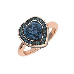 Guess Damen Ring Coins of Love Heart Stone Pave Gold-Plated rosegold UBR28510-56